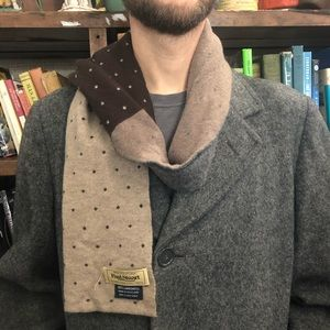 Paul Stuart Grey and Brown Dot Scarf Lambswool